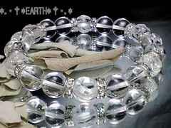 天然石★10ミリ薔薇彫天然水晶&水晶クリスタル数珠