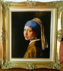 絵画 油彩画 フェルメール模写『真珠の耳飾りの少女』