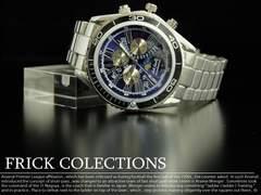 お洒落な星空模様☆J-star★青銀メタル腕時計メンズ