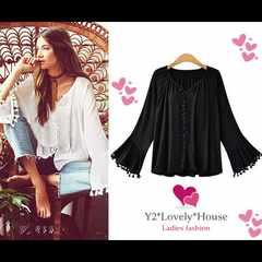 L2L3L*大きいサイズ*フリンジ&ベル袖プルオーバーシャツ*黒