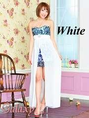 8942★Lサイズ*ビジュー装飾シフォンヴェール付ペルシャ柄ミニinロングドレス*ホワイト