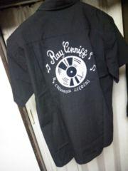 Lapine ラピーネ チェーン刺繍音符×レコードデザインボーリングシャツ 黒 38