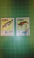 キューバ切手2種類(魚、海老)♪