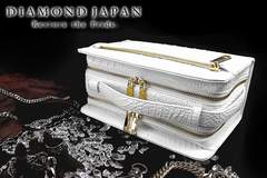 送料無料ツヤありクロコ柄PUセカンドバッグ/オラオラ系ヤクザチンピラ小物鞄008白2