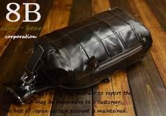 ◆大人デザイン 牛本革ドラム型 大きめレザーボディバッグ◆k21