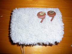 メルシーボークー カンマ折財布 ニット+天然皮革