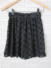 即決/水玉ラメリボンシフォンバルーンスカート/黒