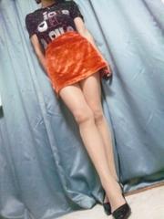 オレンジ・ベルベットミニスカート美品W61