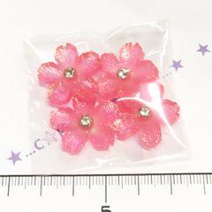 21*�@スタ*デコパーツ4個*オーロラ微粒子ラメストーン付桜*濃いピンク*7
