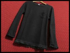 裾フリンジツイストスラブニットソー Tシャツ L/BLK/L