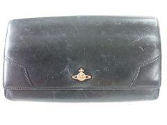 5654/ヴィヴィアンウエストウッド使いやすいブラックレザー革ロングウォレット格安!