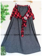 秋新☆大きいサイズ☆3Lグレー系MIX☆腰ゴム☆チェック袖巻き風ロンスカ