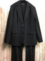 新品☆23号4Lストレッチ素材パンツスーツ黒すご伸びj731