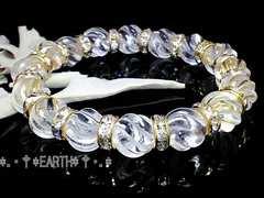 天然石★10ミリSラインツイスト螺旋彫水晶&金色ロンデル数珠