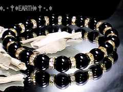 天然石★8ミリ高級黒瑪瑙AAAオニキス&金色ロンデル数珠