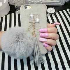 即日発送 iphone6 大きなポンポン フェイク可愛い スマホケース
