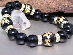 四神獣オニキス12ミリオニキス10ミリ金ロンデル数珠