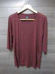 □ZARA/ザラ シルク 七分袖 Tシャツ/メンズ・S/パープル☆新品