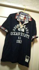 XL メンズ大きめサイズチェック柄シャツ重ね着風ネイビーTシャツ