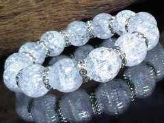 クラック水晶14ミリ波形銀ロンデル数珠