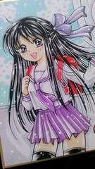 ◆自作イラスト◆黒髪セーラー服少女☆学校帰り◆送料込み