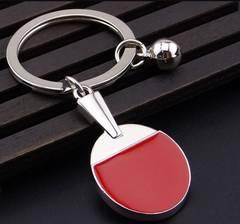 メタリックな卓球ラケット&ボールの キーホルダー ペア2個セット