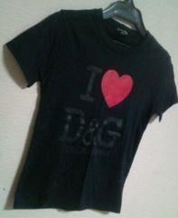 used美品「D&G」heartマークロゴprint*Tシャツ