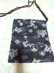 ☆新品黒×雲龍家紋和柄ナナメ掛巾着袋