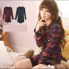 【5L】大きいサイズ*Cute♪長袖チェックシャツ*レッド赤系*即決