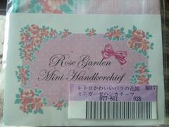 新品未使用未開封フェリシモレトロ可愛いバラの花園ミニガ-ゼハンカチ-フピンク