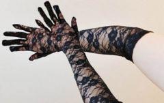 新品【7147】黒★花柄総レースの手袋(M)