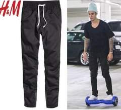 新品 H&M 裾サイドジップ ジョガーパンツ 黒W32 ML ジャスティンビーバー