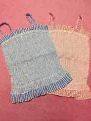 ストライプ柄 ブルー&ピンク キャミソール 2点セット 新品