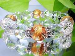 金彫四神獣水晶・64面カット水晶14ミリ数珠AAA