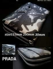 PRADA italy迷彩柄×黒レザー財布Wファスナーラウンドジッピー