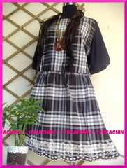 春夏新作◆大きいサイズ3Lブラウン系チェック柄◆裾刺繍チュニック