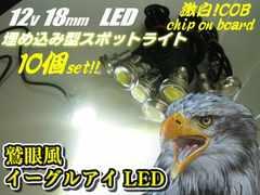 12v/白色イーグルアイLEDスポットライト10個/ボルト型デイライト