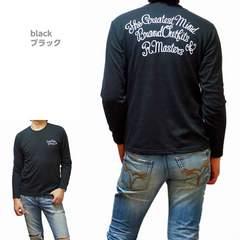 SALE!!新品★バイカー系 クルーネックロンT(L)ブラック 黒