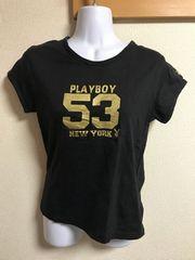 ★PLAYBOY 黒×ゴールド Tシャツ  F★