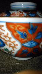 江戸期古伊万里染錦赤絵蓋物茶碗
