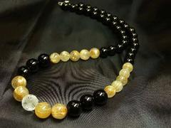 大願成就!!皇帝龍水晶×ブラックオニキス×タイチンルチル数珠ネックレス