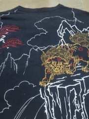★USED[クロップドヘッズ]唐獅子牡丹 六分袖Tシャツ スカジャン好きにも
