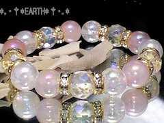 天然石★オーラローズクォーツ&アクアクラック数珠