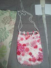 ☆新柄白×八重桜ラメ入柄信玄巾着袋リバーシブル