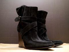 レア◆BALENCIAGA バレンシアガ ウェッジソール ブーツ 37黒◆