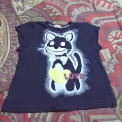 キッズネイビー プリ Tシャツ 90�p