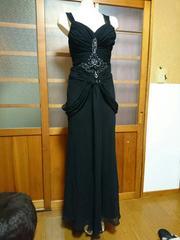 ブラック シフォン ロングドレス
