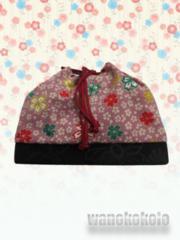 【和の志】卒業式に◇巾着◇あずき色系・桜柄◇TK-81