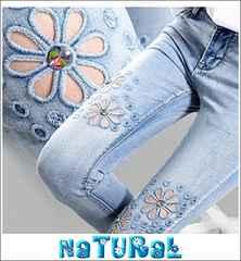 大きいサイズ【30】L2L Flower刺繍ホール&ビジュ付デニム/ウォッシュ/七分丈