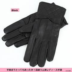 新品特価★手首まであったか高級ラム革手袋★黒★M